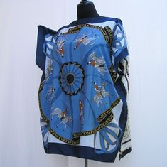 Horse tunic, Plus size Tunic, blue Caftan, swim cover up, boho kaftan, blue tunic, 1x 2x 3x 4x 5x 6x tunic, boatneck tunic, upcycled caftan by Rethreading on Etsy