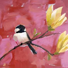 Chickadee And Magnolia Blossoms No. 10 12 X 12 Inch On Cradled Panel…