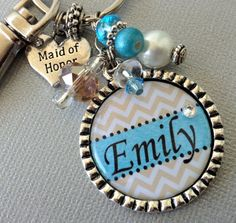 CHEVRON Personalized Keychainmonogram bridesmaid gift by buttonit, $18.50
