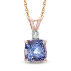 Tanzanite and Diamond Accent Pendant in Rosegold. This is the one Drew got for me, only the stone is a much richer Blue - violet :)