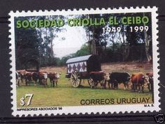 Folklore-Ox-cattle-carriage-forest-bull-URUGUAY-Sc-1822-MNH-STAMP-cv-2
