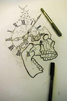 Pin by geovanni escobar on tattoos ♏ idei tatuaje, tatuaje, desene în creio Skull Tattoo Design, Skull Tattoos, Body Art Tattoos, Tattoo Designs, Tattoo Ideas, Tattoo Sketches, Tattoo Drawings, Drawing Sketches, Cool Drawings