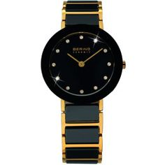 For Her: Bering Ladies Stainless Steel Yellow Gold Plate & Black Ceramic/ Black Dial With Swarovski Crystal Ceramic Bezel/ Sapphire Crystal Glass 50M