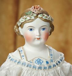 Very Rare German Bisque Lady with Uniquely Sculpted Hair Wreath and Bodice, c 1870