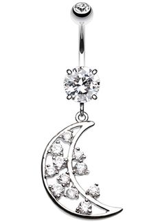 Twinkling Moon Belly Button Ring #Moon #BellyRing #MoonBellyRing #BodyMod #BodyModification #Piercings