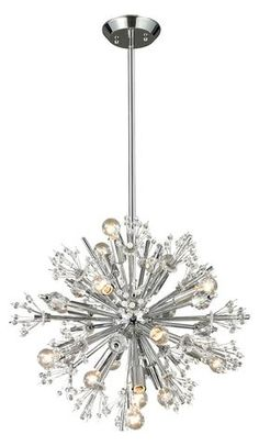 Elk Lighting Starburst Collection 15 light chandelier in Polished Chrome Globe Chandelier, Sputnik Chandelier, Chandelier Lighting, Chandeliers, Elk Lighting, Lighting Ideas, Flush Mount Ceiling, Light Table, Candelabra