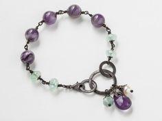 Gunmetal Silver Bracelet copper ring green Agate purple Amethyst Gemstone Beaded pearl filigree Handmade jewelry Gift Steampunk Nation R1082 on Etsy, $45.00