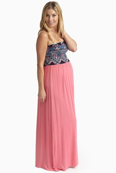 Pink-Black-Printed-Top-Strapless-Maternity-Maxi-Dress