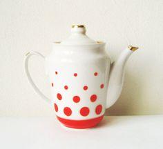 Polka dot  Coffee Pot Vintage Elegant Fine China by MerilinsRetro, $29.00