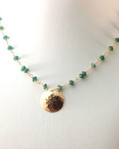 Hidden Star Necklace Peridot Green Onyx Aquamarine Gold Filled