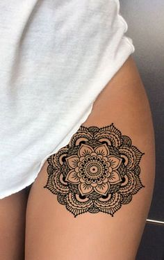Geometric Mandala Thigh Tattoo Ideas for Women - Black Henna Tribal Boho Lotus L. - Geometric Mandala Thigh Tattoo Ideas for Women – Black Henna Tribal Boho Lotus Leg Tat – ideas - Thigh Henna, Mandala Thigh Tattoo, Geometric Mandala Tattoo, Tattoo Henna, Henna Mandala, Mandala Tattoos For Women, Tattoo On Thigh, Geometric Sleeve, Henna Tribal