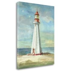 Tangletown Fine Art 'Lighthouse III' by Danhui Nai Painting Print on Wrapped Canvas