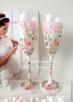Купить Свадебные бокалы Шебби-шик - бледно-розовый, свадьба, свадьба в розовом