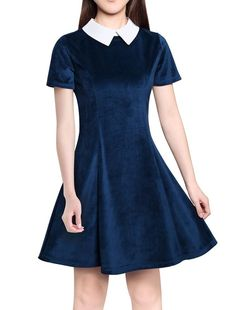 Amazon.com: Allegra K Women Contrast Doll Collar Short Sleeves Above Knee Flare Dress: Clothing