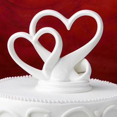 Sleek Interlocking Hearts Design Porcelain Cake Topper -- Read more reviews of the product by visiting the link on the image.