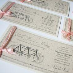 Tandem bike themed wedding invites (by www. Invites, Wedding Invitations, Summer Art, Tandem, Wedding Stuff, Wedding Ideas, Bullet Journal, Names, Art Ideas