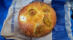 Toasted Jalapeño Bagel with Cream Cheese from Noah's Bagel on Washington Blvd. & Via Marina in Marina Del Rey, California.