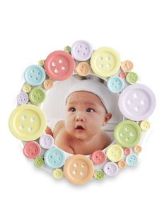 Cute as a Button Round Photo Frame Set of 12 Party Favors