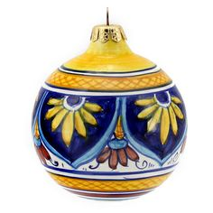 CHRISTMAS ORNAMENT: Round Ball - Hand Painted Deruta Large