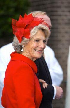 Princess Irene's red flower fascinator details during the wedding of her son Prince Jaime de Bourbon de Parma in Apeldoorn, The Netherlands, 05.10.13.