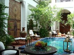 Beautiful courtyard with water feature in a riad in Marrakech morocco Outdoor Rooms, Outdoor Gardens, Indoor Outdoor, Outdoor Living, Outdoor Decor, Outdoor Seating, Moroccan Design, Moroccan Decor, Moroccan Style