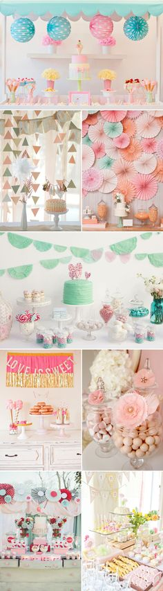Colored dessert table