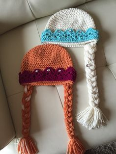 Anna or Elsa hat with Crown Frozen Hat ALL Sizes by KnittyMomma