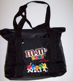 M&M's World Las Vegas Black Nylon Embroidered Tote Bag 18 X 14 X 5 NWOT #MarsInc
