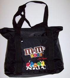 M&M's World Las Vegas Black Nylon Embroidered Tote Bag 18 X 14 X 5 NWOT #MarsInc