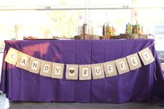 CANDY BUFFET Burlap Paper Wedding Banner, Custom Colors Available via Etsy