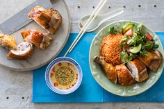 """We serve this popular street food dish at my Red Lantern restaurant in Sydney. To achieve the very crispy skin, we ladle very hot oil over the skin again and again until it blisters and becomes crispy."""