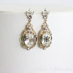 Gold Wedding Earrings Crystal Drop Earrings by LuluSplendor