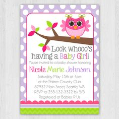 Purple Polkadot Owl Baby Shower Invitation by Perpetual Love Design    #babyshower #party #invitation #baby #shower #owl #purple #polkadot #birthday #perpetuallovedesign