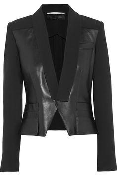Roland Mouret Manado leather-paneled crepe jacket