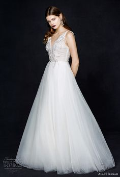 alan hannah 2017 bridal sleeveless v neck heavily embellished bodice romantic a  line wedding dress sweep train (isabella) mv