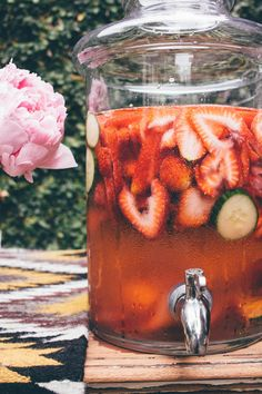 Strawberry Cucumber Spa Water { @beardandbonnet www.beardandbonnet.com }