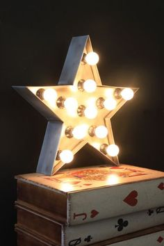 Fairground lights create a fun and stylish atmosphere This metal fairground light Star can be hung on the wall or used as a table lamp It comes with Cool Lighting, Pendant Lighting, Yard Lighting, Industrial Lighting, Twinkle Lights, Twinkle Twinkle, A Table, Table Lamp, Snug Room