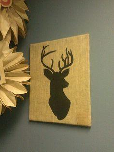 Deer Silhouette on Burlap Canvas by YDoodleDesigns on Etsy, $25.00