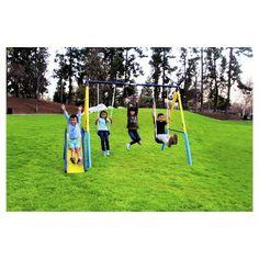 Swing Set Playground Backyard 6 Station Metal Playset Slide Kids