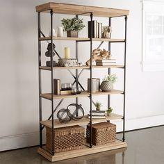 Wood Bookshelves, Metal Shelves, Industrial Shelving, Book Shelves, Industrial Design, Interior Decorating, Interior Design, Decorating Ideas, Decor Ideas