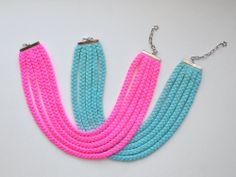 The five braids necklace handmade in neon by birdienumnumshop