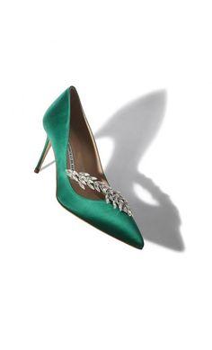 Manolo Blahnik Nadira Green Satin Jewel Buckled Pump #womenstyle #Classic #RTW #musthave #outfitideas #blackfriday2018 #cybermonday2018 Manolo Blahnik Hangisi, Jeweled Shoes, Satin Shoes, Green Satin, Green Shoes, Stiletto Heels, Kitten Heels, Pumps, Jewels