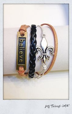 New Orleans Saints Fleur De Lis and Believe Leather Braided Bracelet on Etsy by AllThingsJolie78, $11.99