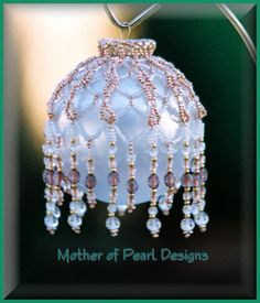 beaded christmas ornaments free patterns | white and gold ornament cover white and gold seed beads