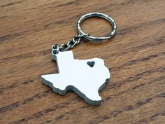 Texas Lovin'  Metal Keychain  Christmas Gift by theDuoStudio, $13.00