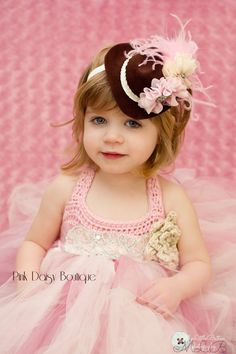 Mini Cowgirl Hat Hair Clip Fascinator Photo Prop Pink, Ivory, Brown.  Cowgirl Hat Headband.  Baby Photo Prop. via Etsy