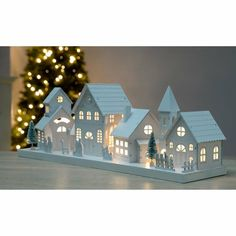 WeRChristmas Pre-Lit Wooden Village Scene Illuminated with 10 Warm LED Lights - Large, White Snow Covered Christmas Trees, Christmas Tree Village, Christmas Villages, Tabletop Christmas Tree, Christmas Diy, Christmas Mantles, Silver Christmas, Victorian Christmas, Vintage Christmas