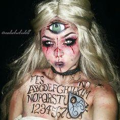 Madame Wija, Ouija Board Mistress   IG @voodoobarbiedoll   Makeup, SFX, Special Effects Makeup, Ouija Board Makeup, Fortune Teller, Mystic Makeup, Halloween Makeup, Halloween Inspiration, Spooky, Creepy Makeup, Bloody Makeup, Scab Blood, Blonde Wig