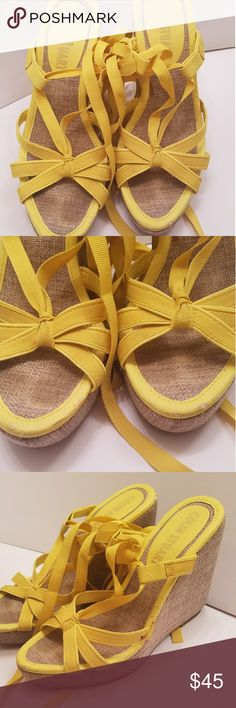 Colin Stuart strappy lace up ankle wedges sz 5 gorgeous yellow super sexy strappy ankle ties little mark on side see picture probably will come off barely notice wedges Colin Stuart Shoes Wedges Colin Stuart Shoes, Must Have Items, Wedge Shoes, Ties, Espadrilles, Lace Up, Wedges, Ankle, Yellow