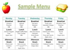 Printable Menus Daycares | Home Daily Schedule Tuition Food Menu Photos Credentials Contact me